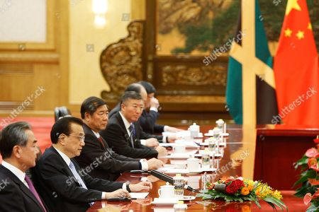 Chinese Premier Li Keqiang, second left, meets Jamaican Prime Minister Andrew Holness (not pictured) at the Great Hall of the People in Beijing