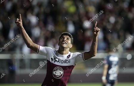 Johan Venegas of Deportivo Saprissa celebrates after scoring during the first leg CONCACAF League final soccer match between Deportivo Saprissa and Motagua at the Ricardo Saprissa Ayma Stadium in San Jose, Costa Rica, 07 November 2019.