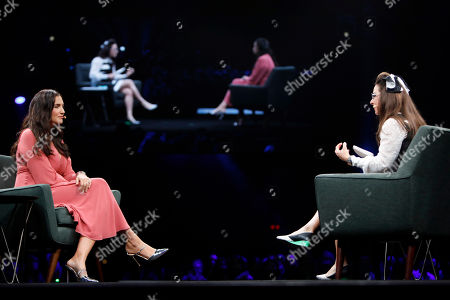 Stock Photo of Journalist & Consumer Tech Expert Katie Lindendoll, right, interviews CEO of Rent the Runway Jennifer Hyman about building her business at Intuit's QuickBooks Connect on Thursday, Nov. 7, in San Jose, Calif