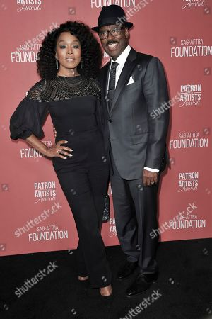 Angela Bassett, Courtney B Vance. Angela Bassett, left, and Courtney B Vance attend SAG-AFTRA Foundation's 2019 Patron of the Artists Awards at the Wallis Annenberg Center for the Performing Arts, in Beverly Hills, Calif