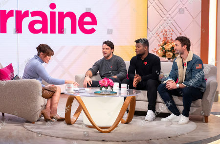 Lorraine Kelly with Try Star - Thom Evans, Ben Foden and Levi Davis