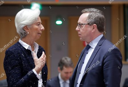 President of the European Central Bank (ECB) Christine Lagarde (L) chats with Finnish Finance Minister Petteri Orpo during a European Finance Ministers' meeting in Brussels, Belgium, 08 November 2019.