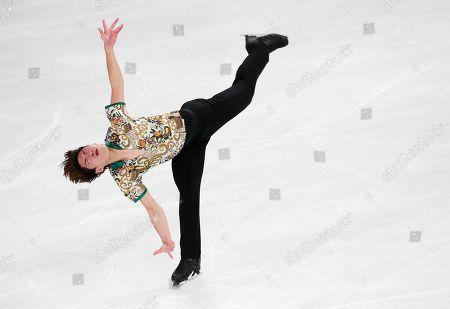 Keiji Tanaka of Japan in action during the Men's Short program at the 2019 SHISEIDO Cup of China ISU Grand Prix of Figure Skating in Chongqing, China, 08 November 2019.
