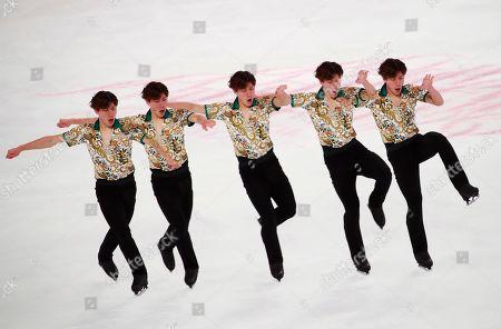A multiple exposure of Keiji Tanaka of Japan in action during the Men's Short program at the 2019 SHISEIDO Cup of China ISU Grand Prix of Figure Skating in Chongqing, China, 08 November 2019.