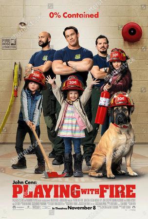 "Playing with Fire (2019) Poster Art. Christian Convery as Will, Keegan-Michael Key as Mark, John Cena as Jake ""Supe"" Carson, Finley Rose Slater as Zoey, John Leguizamo as Rodrigo and Brianna Hildebrand as Brynn"