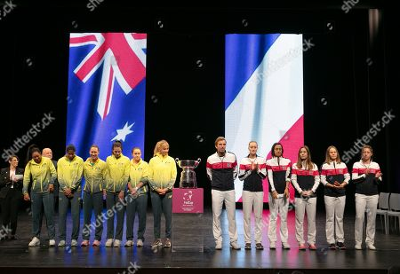 Team Australia (L) and Team France (R) attend the official draw of 2019 Fed Cup at the Heath Ledger Theatre in Perth,Western Australia, Australia, 08 November 2019. Australia's final against France will be held in Perth on 09 and 10 November.