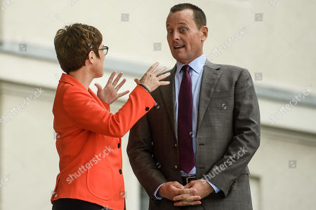 Stock Image of US Ambassador to Germany Richard Allen Grenell (R) and German Defense Minister Annegret Kramp-Karrenbauer talk prior to the arrival of US Secretary of State Pompeo at the German Defense Ministry in Berlin, Germany, 08 November 2019. Pompeo is in Germany ahead of the 30th anniversary of the fall of the Berlin Wall, which led to the collapse of the communist East German government in 1989 and the eventual reunification of East and West Germany. Pompeo served in the US armed forces and was a tank commander stationed in West Germany.