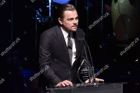 Leonardo DiCaprio onstage at SAG-AFTRA Foundation's 2019 Patron of the Artists Awards at the Wallis Annenberg Center for the Performing Arts, in Beverly Hills, Calif