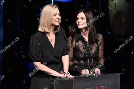 Stock Photo of Lisa Kudrow, Courteney Cox. Lisa Kudrow, left, and Courteney Cox onstage at SAG-AFTRA Foundation's 2019 Patron of the Artists Awards at the Wallis Annenberg Center for the Performing Arts, in Beverly Hills, Calif