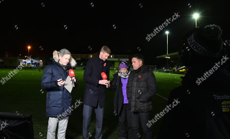 Matt Smith, Jon Stead and Michael Owen present for BT Sport in near pitch darkness after Electrical failure plagues the Ground at Harrogate