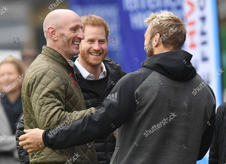 Britain's Prince Harry, The Duke of Sussex (L) and former Wales rugby captain Gareth Thomas (R) arrive at the Stoop, Twickenham,  London, Britain, 08 November 2019. The Duke of Sussex has attended a Terrence Higgins Trust event ahead of a National HIV testing week campaign.