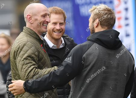 Stock Image of Britain's Prince Harry, The Duke of Sussex (R) former Wales rugby captain Gareth Thomas (L) and Harlequins Captain Chris Robshaw (C) share a joke at the Stoop, Twickenham,  London, Britain, 08 November 2019. The Duke of Sussex has attended a Terrence Higgins Trust event ahead of a National HIV testing week campaign.
