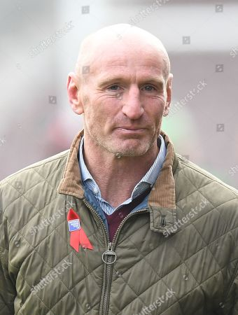 Former Wales rugby captain Gareth Thomas arrives at the Stoop, Twickenham,  London, Britain, 08 November 2019. The Duke of Sussex has attended a Terrence Higgins Trust event ahead of a National HIV testing week campaign.