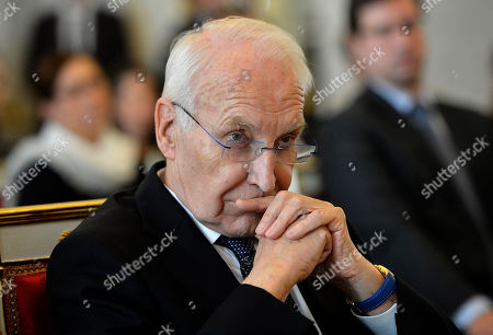 Former Minister President of the state of Bavaria  and former chairman of the Christian Social Union (CSU) Edmund Stoiber is seen after being awarded with the Grand Cross of the Hungarian Order of Merit in the presidential Alexander Palace in Budapest, Hungary, 08 November 2019.