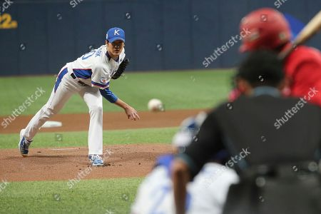 South Korea's pitcher Park Jong-hun throws against Cuba during the first inning of the Group C of the WBSC Premier12 2019 world baseball tournament at Gocheok Sky Dome in Seoul, South Korea