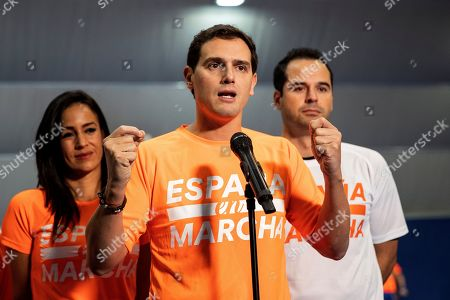 Leader and presidential candidate of Spanish Ciudadanos party, Albert Rivera (C) delivers a speech during a rally in Madrid, Spain, 08 November 2019. Spain will hold its general elections on upcoming 10 November 2019 after Spanish socialist Prime Minister Pedro Sanchez failed to form a government following the 28 April elections.
