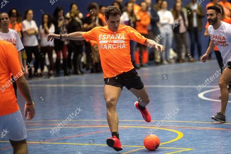 Leader and presidential candidate of Spanish Ciudadanos party, Albert Rivera (C) plays soccer during an electoral rally in Madrid, Spain, 08 November 2019. Spain will hold its general elections on upcoming 10 November 2019 after Spanish socialist Prime Minister Pedro Sanchez failed to form a government following the 28 April elections.
