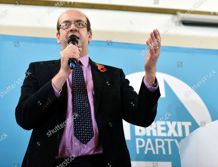 Stock Photo of Brexit party candidate Mark Reckless speaks during Brexit Party general election campaign in Pontypool, South Wales, Britain, 08 November 2019. British Prime Minister Boris Johnson has called a general election for 12 December 2019.