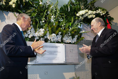 Stock Photo of Prince Aga Khan IV (R) together with Portugal's President Marcelo Rebelo de Sousa (L) during the inauguration of the donated robotic surgery equipment by the Ismaili Imamat comunity to the Curry Cabral national hospital in Lisbon, Portugal, 08 November 2019.