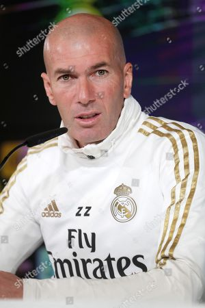 Real Madrid's head coach, Zinedine Zidane, holds a press conference following a training session at Valdebebas sports city in Madrid, Spain, 08 November 2019. Real Madrid will face SD Eibar in a Spanish LaLiga soccer match on 09 November.