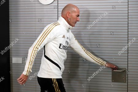 Real Madrid's head coach, Zinedine Zidane, leaves a press conference following a training session at Valdebebas sports city in Madrid, Spain, 08 November 2019. Real Madrid will face SD Eibar in a Spanish LaLiga soccer match on 09 November.