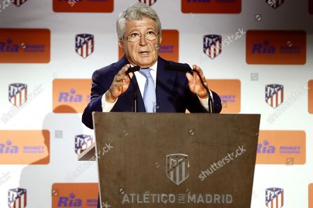 Atletico Madrid's President, Enrique Cerezo, speaks during the presentation of the new sponsor of the team at Wanda Metropolitano stadium in Madrid, Spain, 08 November 2019. Atletico de Madrid has signed a contract with US company Ria Money Transfer to sponsor the club for the next four seasons.