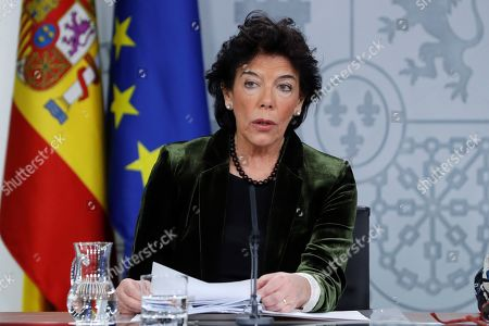 Spanish acting Government's spokeswoman and Education Minister, Isabel Celaa addresses a press conference after the weekly Cabinet meeting at La Moncloa Palace, in Madrid, Spain, 08 November 2019. The Cabinet meeting was the last one held before the Spanish general election scheduled for upcoming 10 November 2019.