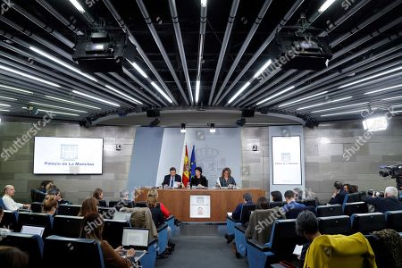 Spanish acting Government's spokeswoman and Education Minister, Isabel Celaa (C), Agriculture Minister Luis Planas (L) and Ecologic Transition Minister Teresa Ribera hold a press conference after their weekly Cabinet meeting at La Moncloa Palace, in Madrid, Spain, 08 November 2019. The Cabinet meeting was the last one held before the Spanish general election scheduled for upcoming 10 November 2019.