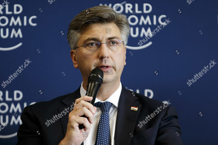 Prime Minister of Croatia Andrej Plenkovic speaks to the media during a press conference after the Strategic Dialogue on the Western Balkans at the World Economic Forum (WEF) in Cologny, near Geneva, Switzerland, 08 November 2019.