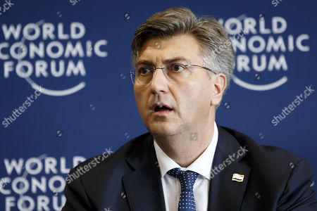Stock Image of Prime Minister of Croatia Andrej Plenkovic listens during a press conference after the Strategic Dialogue on the Western Balkans at the World Economic Forum (WEF) in Cologny, near Geneva, Switzerland, 08 November 2019.