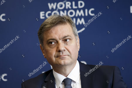Stock Picture of Denis Zvizdic, Chairman of the Council of Ministers of Bosnia and Herzegovina, listens during a press conference after the Strategic Dialogue on the Western Balkans at the World Economic Forum (WEF) in Cologny, near Geneva, Switzerland, 08 November 2019.