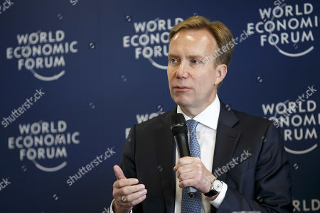 Stock Photo of WEF President Borge Brende speaks to the media during a press conference after the Strategic Dialogue on the Western Balkans at the World Economic Forum (WEF) in Cologny, near Geneva, Switzerland, 08 November 2019.