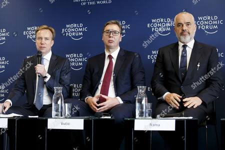 Stock Image of (L-R) WEF President Borge Brende, Serbia's President Aleksandar Vucic and Albania's Prime Minister Edi Rama attend a press conference after the Strategic Dialogue on the Western Balkans at the World Economic Forum (WEF) in Cologny, near Geneva, Switzerland, 08 November 2019.