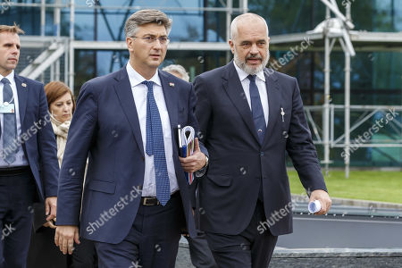 Croatia's Prime Minister Andrej Plenkovic (L) and Albania's Prime Minister Edi Rama (R) arrive for a press conference after the Strategic Dialogue on the Western Balkans at the World Economic Forum (WEF) in Cologny, near Geneva, Switzerland, 08 November 2019.