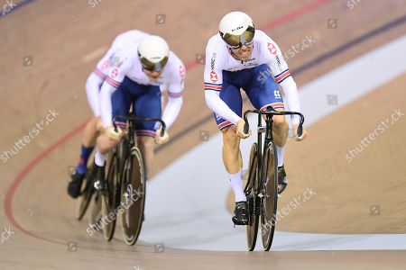 Ryan Owens, Jack Carlin and Jason Kenny of Great Britain ride in the Men?s Team Sprint Final.