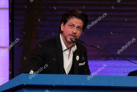 Stock Picture of Bollywood actor Shah Rukh Khan delivers his speech during the inauguration of the 25th Kolkata International Film Festival in Kolkata, India, . The festival will continue till Nov. 15