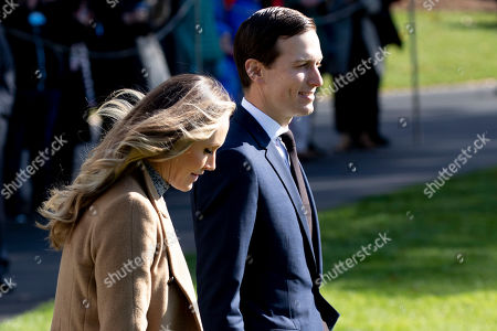 Senior Advisor to US President Donald J. Trump, Jared Kushner (R), and Kushner's sister-in-law and campaign advisor to President Trump, Lara Trump (L), walk on the South Lawn of the White House to depart by Marine One in Washington, DC, USA, 08 November 2019. Trump travels to Georgia to deliver remarks among African American supporters. Before departing, Trump used the opportunity to criticize the whistleblower, House Democrats and the impeachment probe.