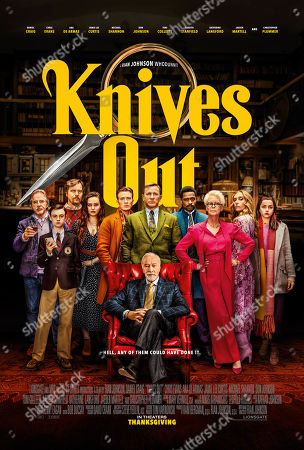 Knives Out (2019) Poster Art. Don Johnson as Richard Drysdale, Jaeden Lieberher as Jacob Thrombey, Michael Shannon as Walt Thrombey, Katherine Langford as Meg Thrombey, Chris Evans as Ransom Drysdale, Daniel Craig as Benoit Blanc, LaKeith Stanfield as Lt Elliott, Jamie Lee Curtis as Linda Drysdale, Toni Collette as Joni Thrombey, Ana de Armas as Marta Cabrera and Christopher Plummer as Harlan Thrombey