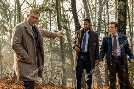Daniel Craig as Benoit Blanc, LaKeith Stanfield as Lt Elliott and Noah Segan as Trooper Wagner