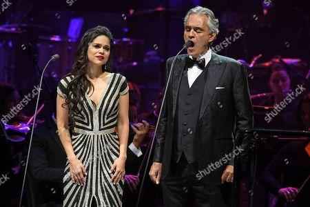 Stock Image of Larisa Martinez and Andrea Bocelli