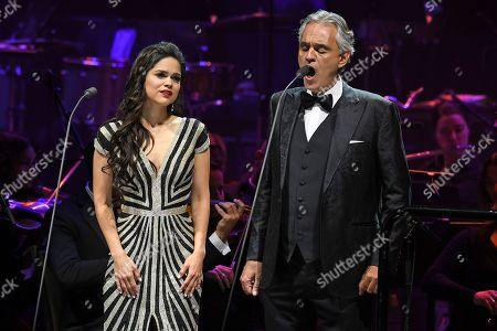 Stock Picture of Larisa Martinez and Andrea Bocelli