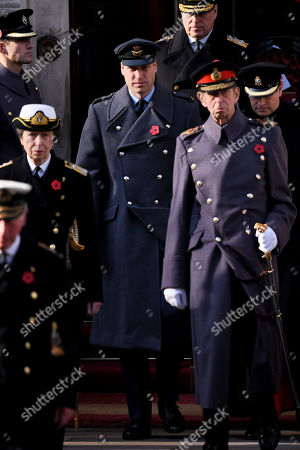 Princess Anne, Prince William, Prince Andrew and the Duke of Kent at the Cenotaph.