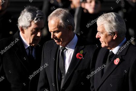 Former Prime Ministers Gordon Brown, Tony Blair and Sir John Major at the Cenotaph.