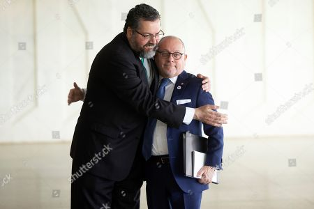Brazilian Foreign Minister, Ernesto Araujo (L), welcomes his counterpart of Argentina, Jorge Marcelo Faurie (R), during the XVI Meeting of the Lima Group that will discuss the crisis in Venezuela, in Brasilia, Brazil, 08 November 2019.