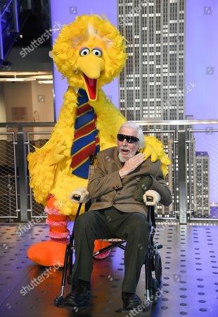 Stock Photo of Big Bird, Caroll Spinney. Sesame Street's Big Bird and puppeteer Caroll Spinney participate in the ceremonial lighting of the Empire State Building in honor of Sesame Street's 50th anniversary, in New York
