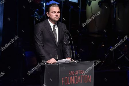 Stock Photo of Leonardo DiCaprio onstage at SAG-AFTRA Foundation's 2019 Patron of the Artists Awards at the Wallis Annenberg Center for the Performing Arts, in Beverly Hills, Calif