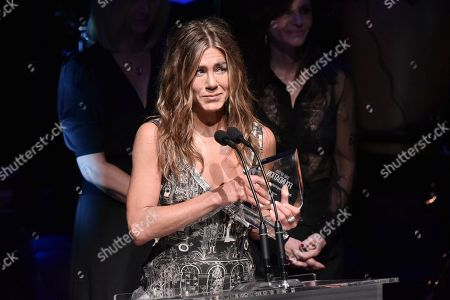 Jennifer Aniston onstage at SAG-AFTRA Foundation's 2019 Patron of the Artists Awards at the Wallis Annenberg Center for the Performing Arts, in Beverly Hills, Calif