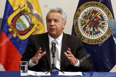 Ecuadorian President Lenin Moreno participates during the inauguration of the 174th Sessions Period of the Inter-American Commission on Human Rights (IACHR), in Quito, Ecuador, 08 November 2019.