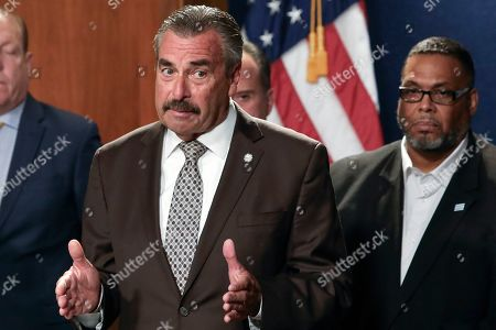 Former Los Angeles police Chief Charlie Beck speaks at a news conference after being named Chicago's interim police superintendent by Chicago Mayor Lori Lightfoot, in Chicago. The announcement comes a day after Superintendent Eddie Johnson, announced his retirement after more than three years as the city's police chief and more than 30 years with the department