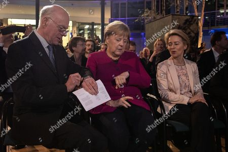 President-designate of the European Commission Ursula von der Leyen (R), German Chancellor Angela Merkel (C) and  Former President of the Bundestag Norbert Lammert (L) attend the 'European Speech' event in Berlin, Germany, 08 November, 2019. On her first return to the German capital as President-designate of the European Commission, von der Leyen delivered the 'European Speech', an annual event which deals with the idea of ??Europe and its present situation.